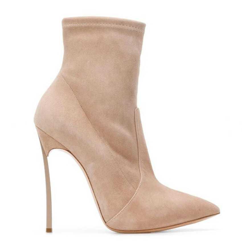 10,5 CM de alto tacón tobillo botas de mujer calcetín Punk botas de nieve de invierno zapatos de mujer zapatos de gamuza bota de cuero de tobillo para mujer correa de zapatos de señora