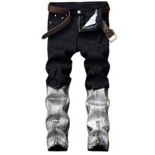 Мужские джинсы 2017 мода высокого качества для мужчин джинсы случайные мужчины прямые джинсовые брюки отверстие джинсы homme байкер джинсы для мужчин