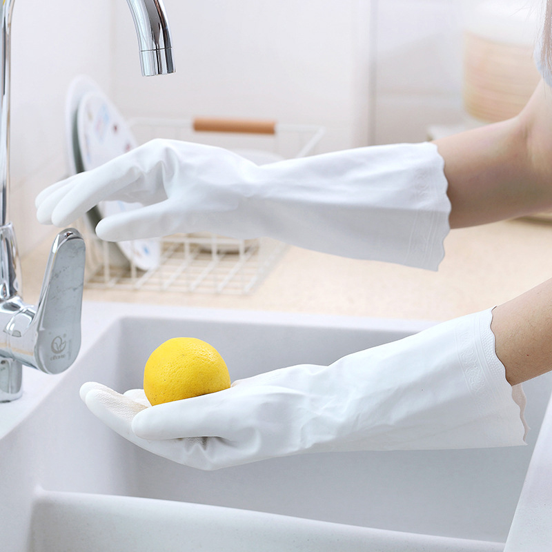 2 Pairs Lot Antiskid PVC Rubber Durable Cleaning Gloves Breathable Creative White Household Long Cleaning Gloves Kitchen Tools in Household Gloves from Home Garden