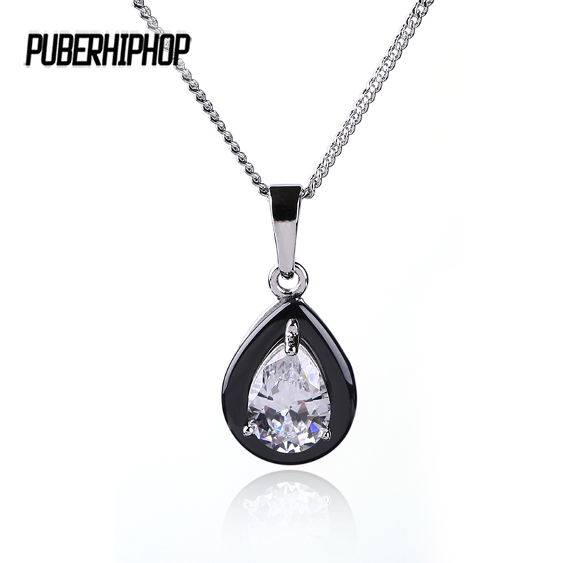 Good Quality Austrian Crystal Necklace Pendants Jewellery & Jewelry Black Ceramic Water Drop Necklace Women Fashion Jewelry