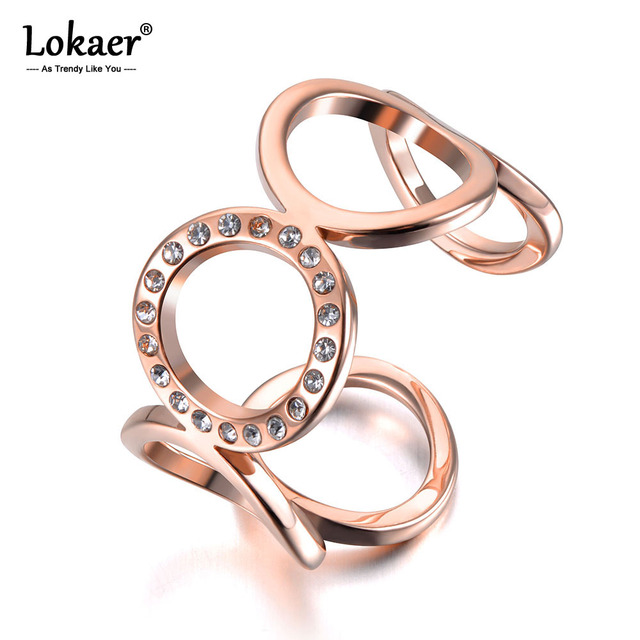 Lokaer New Stainless Steel O-shape Geometric Open Ring Rose Gold Micro Pave CZ Crystal Anniversary Rings For Women Girls R19028