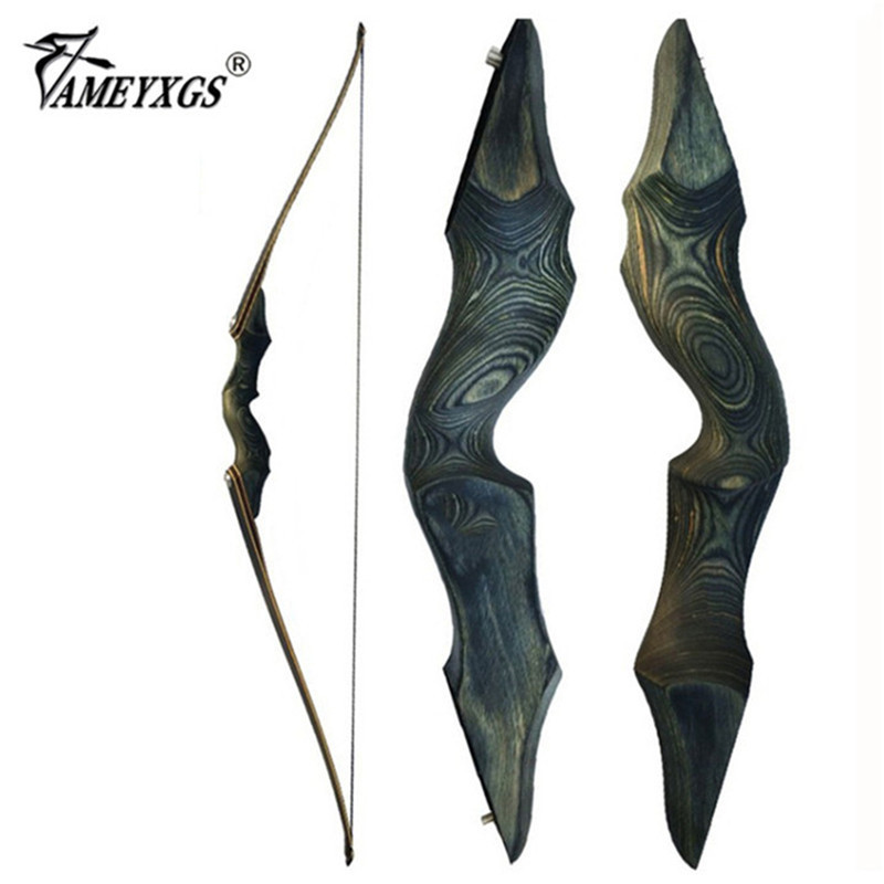30 60bls 60 Inch Archery Black Hunter Recurve Bow Left Right Hand Glassfiber Sheet Lamination Process for Hunting Shooting Bow