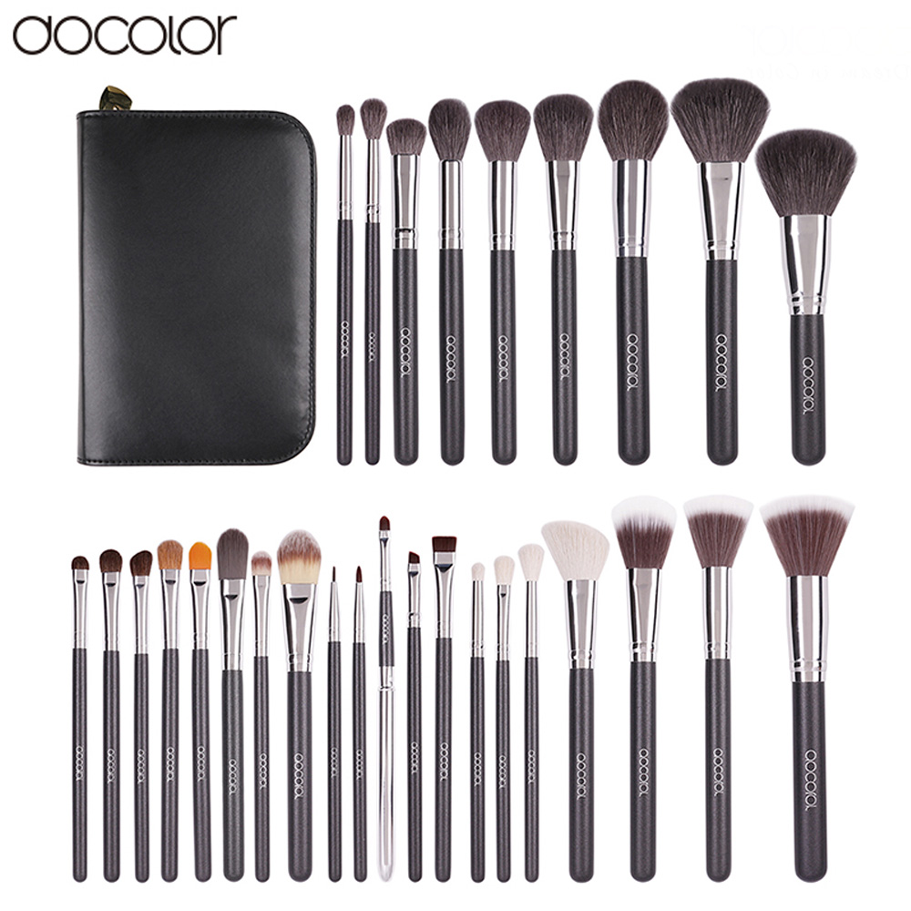 Docolor 29PCS High Quality Makeup Set With Case Professional Cosmetic Brush set Nature Bristle Make up