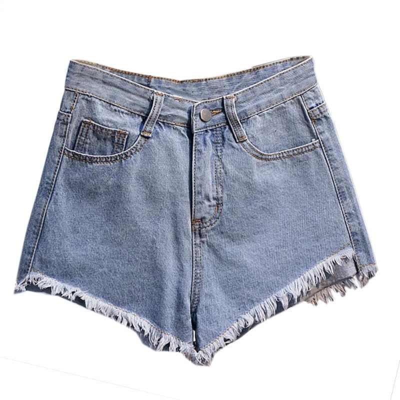 Высокая Талия рваные женские джинсовые шорты пикантные Клубные рваные свободные джинсовые шорты черный, белый цвет светло-и темно-синие джинсы T6