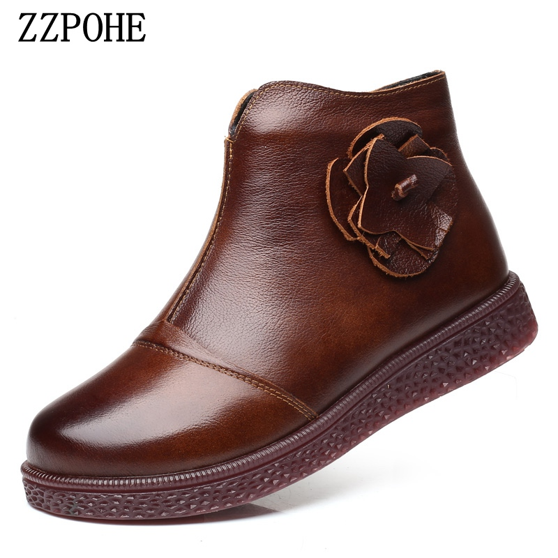 ZZPOHE Women Snow Boots Winter Fashion Genuine Leather Flat Ankle Boots elderly Warm Casual Platform Wedges Boots Mother Shoes недорго, оригинальная цена