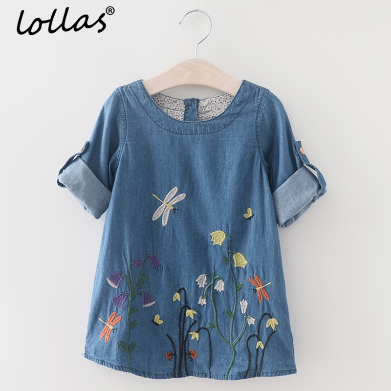 Lollas 2018 Spring Girls Denim Dress Children Clothing Casual Style Blue Girls Clothes Butterfly Embroidery Dress Kids Clothes
