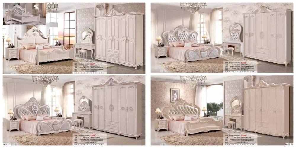 modern european solid wood bed Fashion Carved  leather  french bedroom set furniture king size HC0048 furniture cabinet furniture storage furniture painting - title=