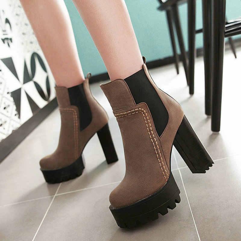Kadın kış Chelsea çizmeler kare yüksek topuk ayak bileği patik moda platformu çizmeler elastik bant kadın ayakkabısı gri siyah kahverengi 2018
