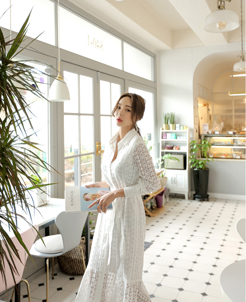 Vintage Hollow-out Lace Women Long Dress Single Breasted Bandage Elegant Mermaid Female Dress Full Sleeve Spring Vestidos femme