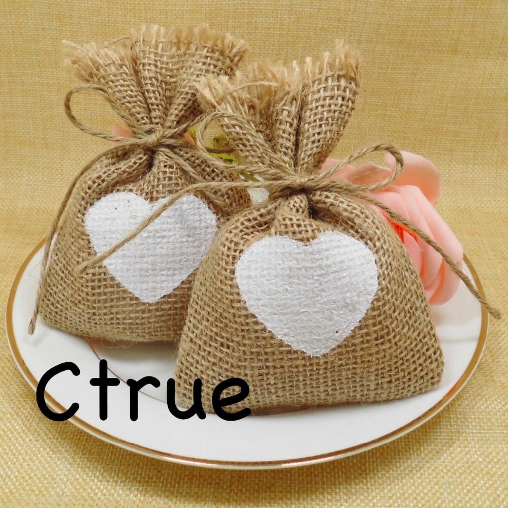 50pc Rustic Wedding Candy Bags Burlap Baby Shower Favor Wedding