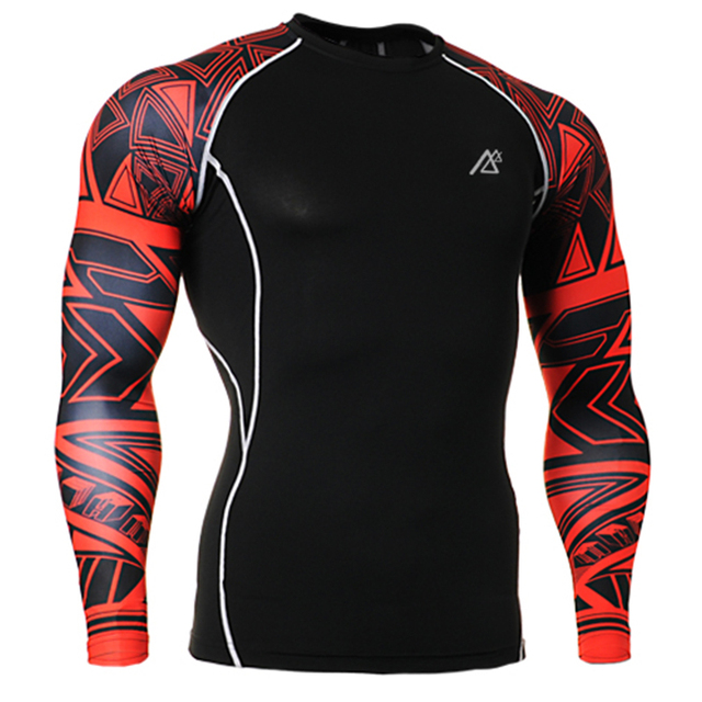 Life on Track Sports Athletic Build Men's T-shirt Tight-Fitting Bodybuilding Plus Size Stretch Anti-Sweat Long Sleeve T shirts