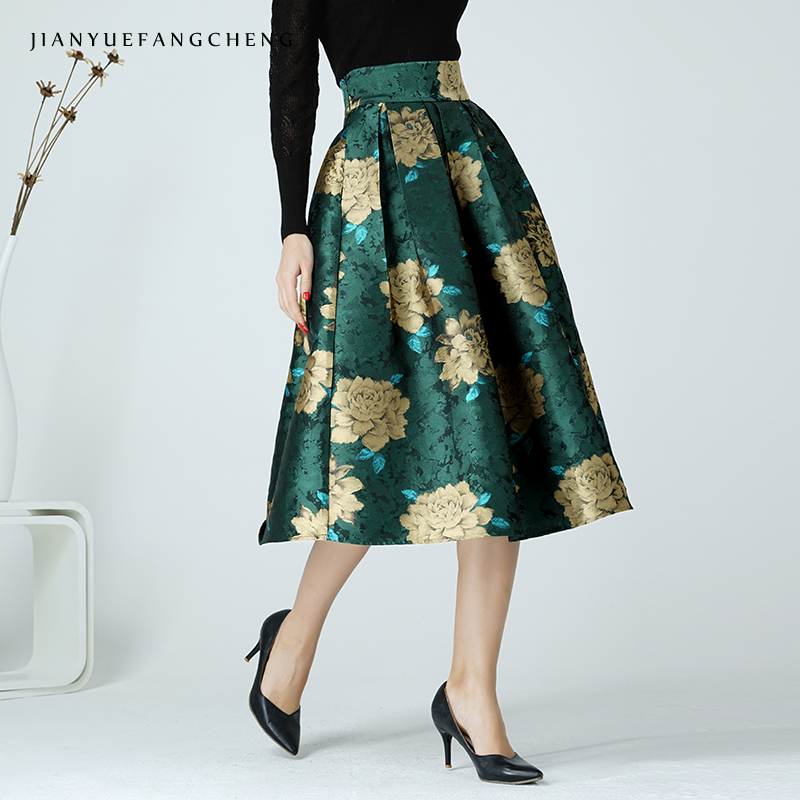 2019 Vintage Womens A Line High Waist Tutu Skirt Floral Pleated Ball Gown Ladies Plus Size Midi Skirt Mid-Calf Jupe For Women