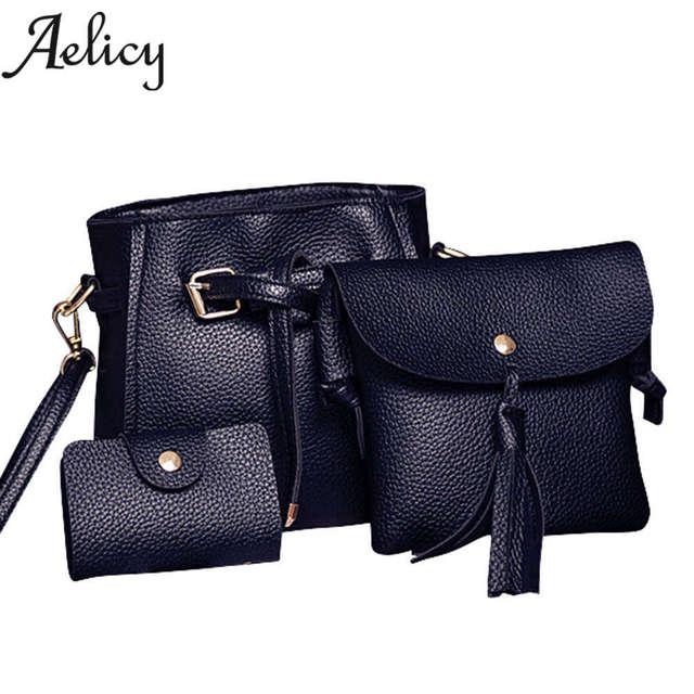 Aelicy New Women Four Set Fashion Handbag Shoulder Bag Four Pieces Tote Bag  Crossbody Wallet Luxury 217886c6f31f2