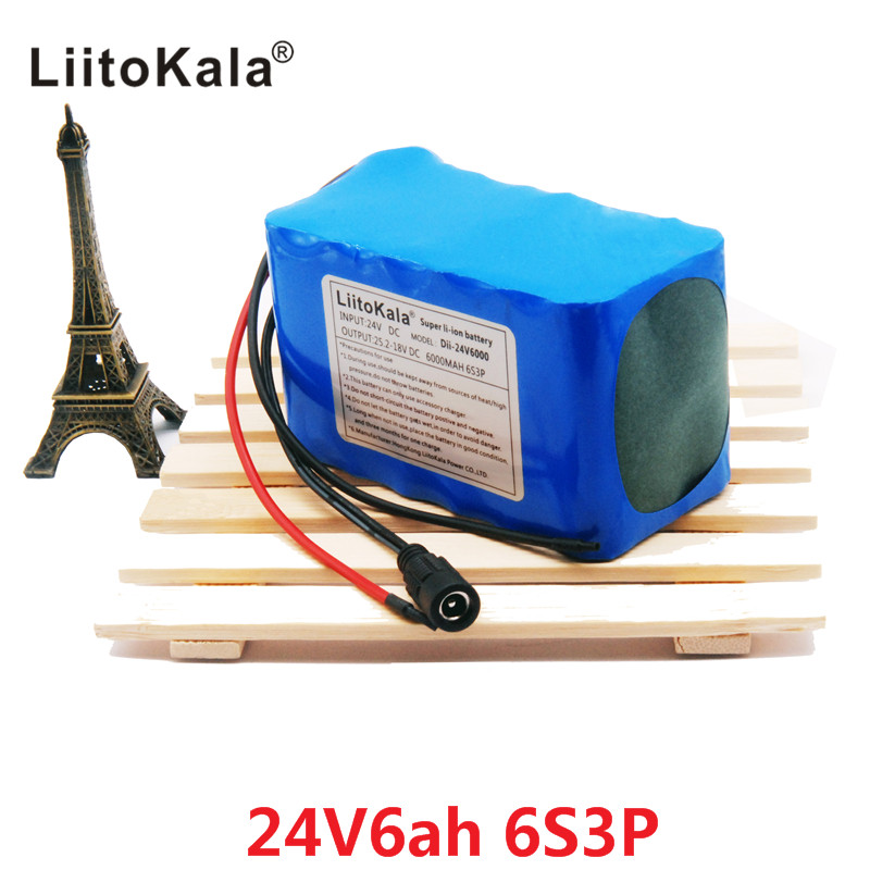 HK LiitoKala 24V 6Ah 6S3P Battery Pack 25.2V 18650 Battery 6000mAh Rechargeable Battery For GPS Navigator/Golf Car/Electric Bike hk liitokala 7s2p 24v 4ah 18650 battery pack 29 4v 4000mah rechargeable battery mini portable charger for led lamp camera