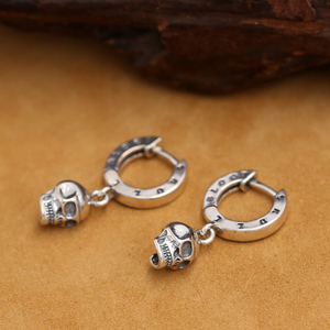 Image 2 - ¡Nuevo! Pendientes de plata de ley 925 con esqueleto Estilo Vintage, pendientes de cráneo plata tailandés, de estilo Punk, Unisex