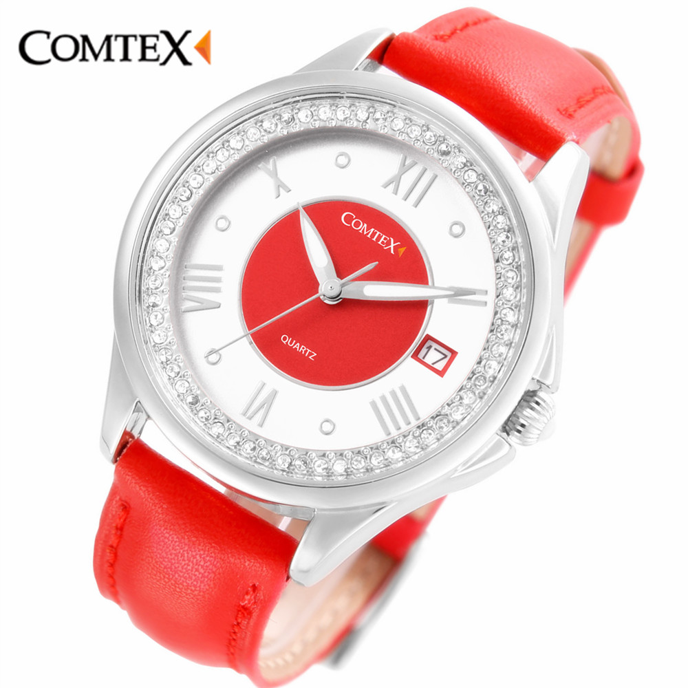 ФОТО Comtex Girl's Watch Casual oy Case Blue w Leather Strap Shell Dial Face Analog Display Quartz Waterproof Calendar Butterfly