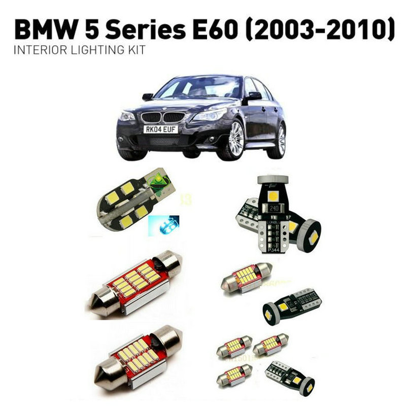 Led interior lights For BMW 5 series e60 2003 2010 19pc Led Lights For Cars lighting kit automotive bulbs Canbus Error Free in Signal Lamp from Automobiles Motorcycles