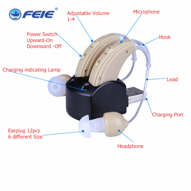 Free shipping DOUBLE headphones hearing deaf S-109S audifonos para sordos recargables Headset For the Elderly Ear Care ToolsFree shipping DOUBLE headphones hearing deaf S-109S audifonos para sordos recargables Headset For the Elderly Ear Care Tools