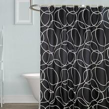 Black Waterproof Bath Curtains Bathroom Circles Endless Shower Curtain Bathtub Cover Extra Large Wide 12 Hooks rideau de douche