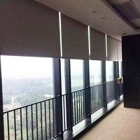 Электрический рулонные шторы с тканью, 2,4-2,7 м в ширину, размер на выбор, управление Wi-Fi моторизованные шторы на роликах