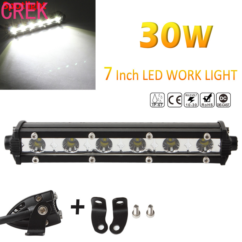 Led Auto Verlichting Crek 7 Inch 30 W 3000lm Led Bar Spotlight Lamp Rijden Fog Offroad Led Auto Verlichting Voor Jeep Voor Toyota Suv 4wd Boot In Crek 7 Inch 30 W 3000lm