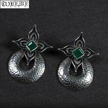Старинные Индийские 925 серебряные серьги в виде цветка, винтажные женские серьги в богемном стиле, этнические висячие серьги