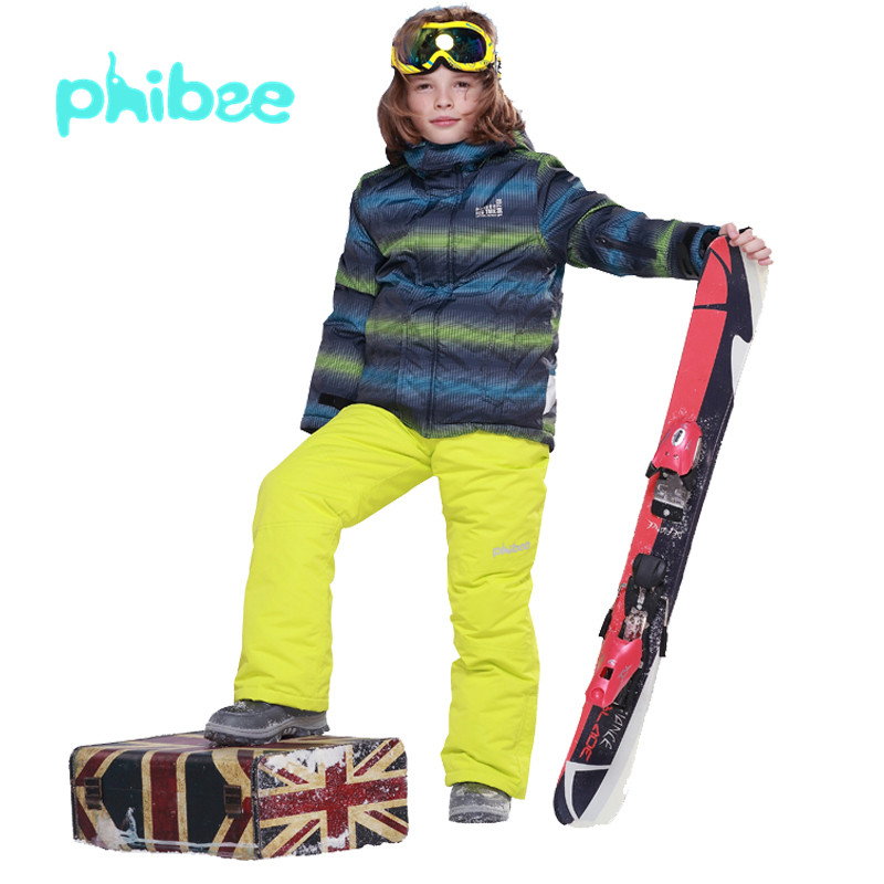 -30 degree Russian Winter Children Ski Suit Boys Waterproof Snowboard Jacket+Bib Pants 2pcs Boys Clothing Set 7-19Years