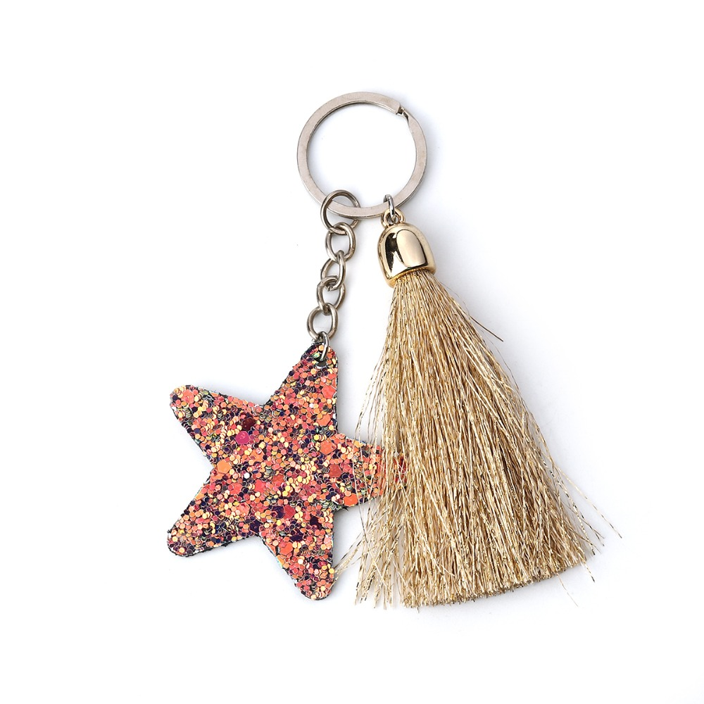 DoreenBeads Paillette Sequin Keychain & Keyring Tassel Antique Silver Red Heart Star Romantic Accessories 10cm(3 7/8
