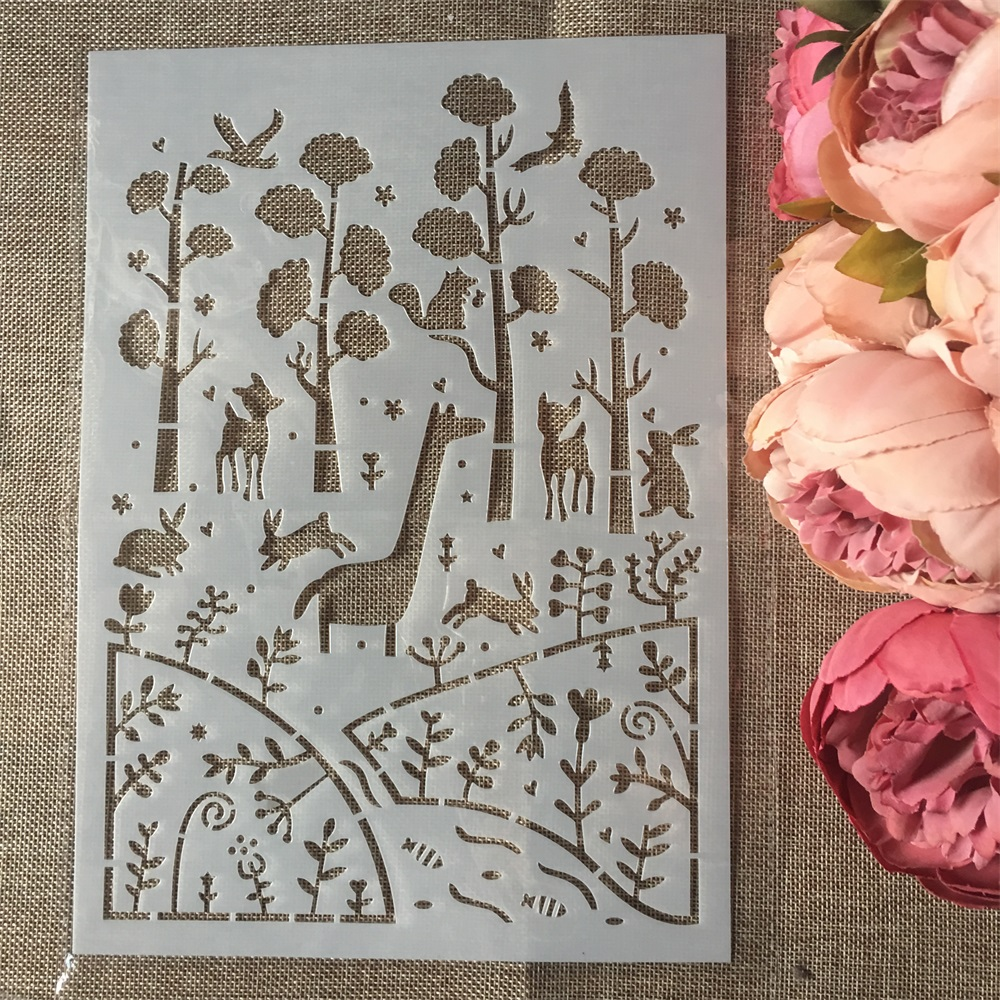 1Pcs A4 Forrest Animals DIY Layering Stencils Wall Painting Scrapbook Coloring Embossing Album Decorative Card Template