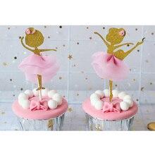 12pcs Gold Glitter Cake Insert Ballerina Dancing Girl Cupcake Toppers Picks Cake Topper For Wedding Bridal Shower Birthday Party