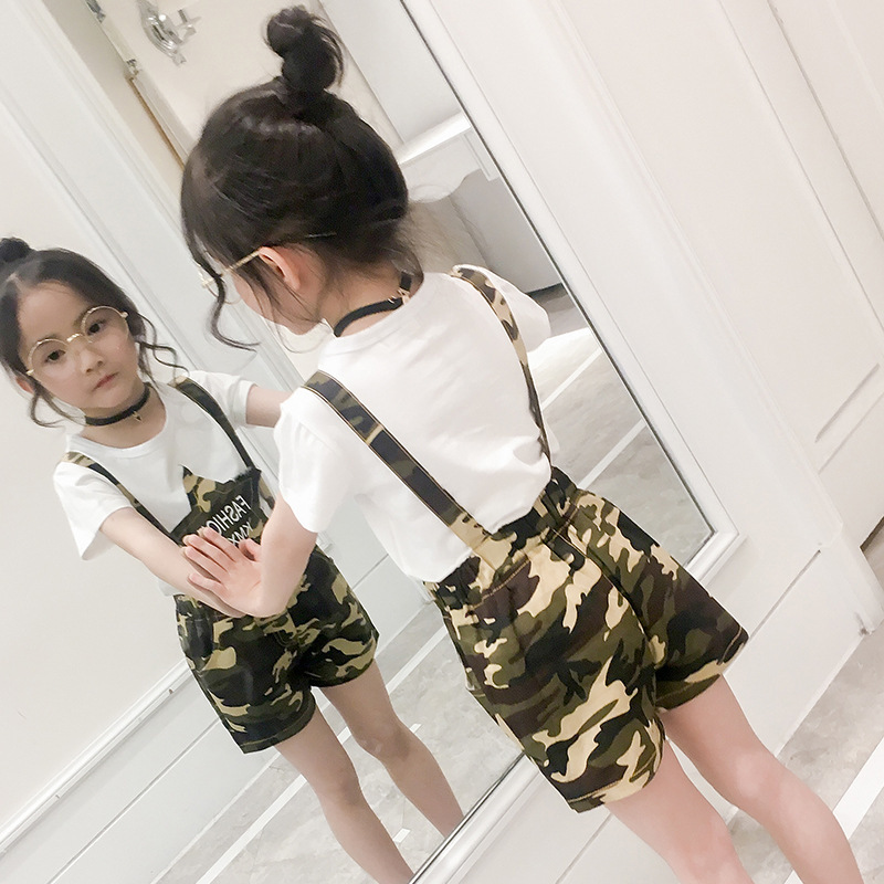 Children's Garment Summer New Pattern Girl Camouflage Suit Children Pure Cotton Short Sleeve Straps Shorts Suit 2 Pieces Kids