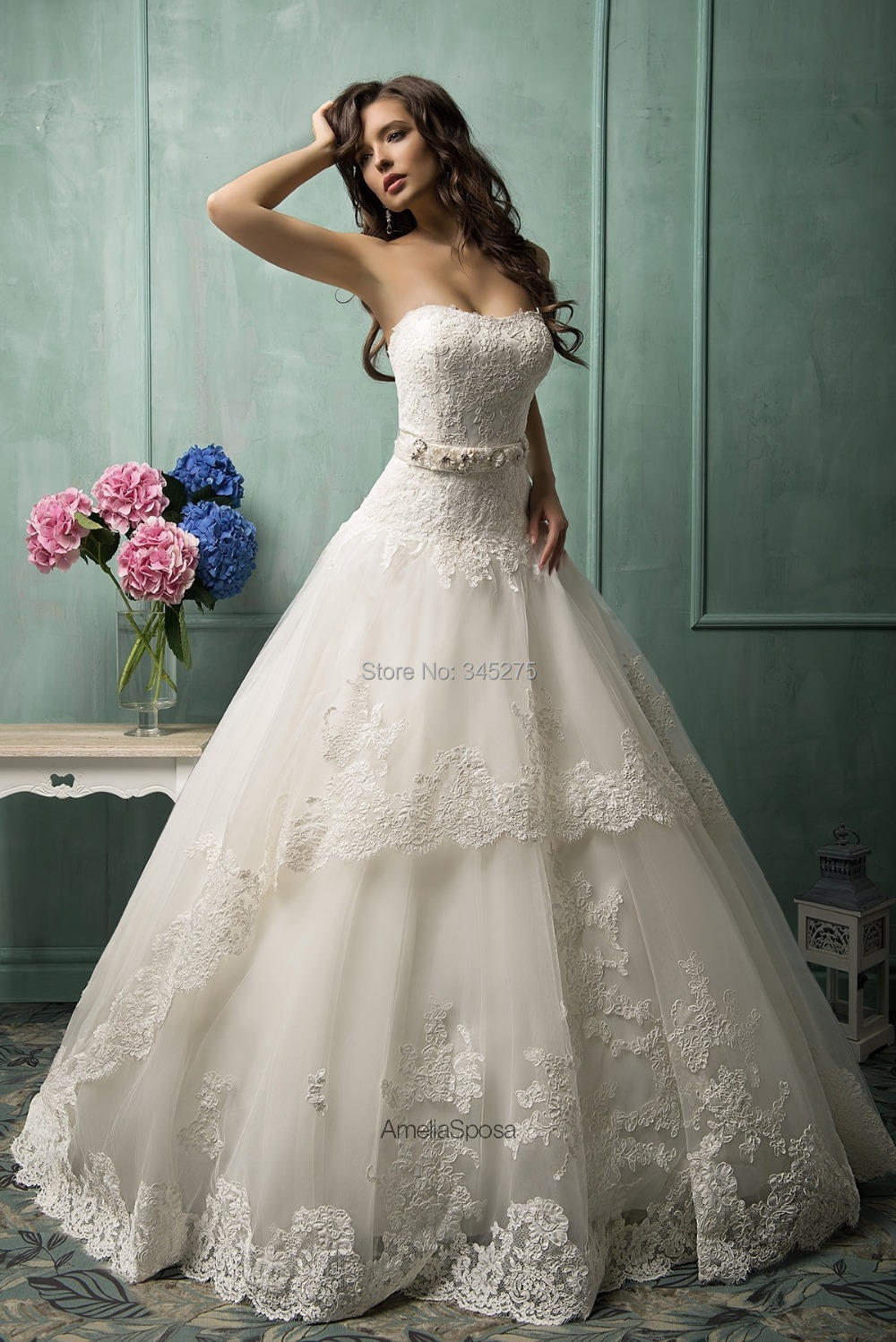 free custom made white ivory lace over tulle imported With wedding dress online shop
