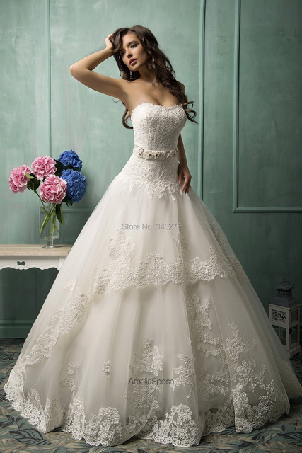 Free Custom Made White Ivory Lace Over Tulle Imported China Wedding Dress Online Shop Cathedral