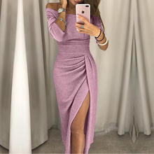Vrouwen Off Shoulder Party Dress 2018 Hoge Split Peplum Jurken Herfst Elegante vrouwen Bodycon Jurk Vestidos(China)