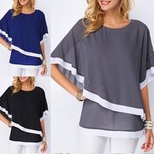 Summer Short Sleeve Chiffon Blouses Casual Batwing O Neck Shirts Women Patchwork Blouse Tops