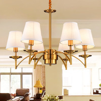 Noble Golden Chandeliers Lamps Indoor Lighting Palatial Hemp E27 6 8 Heads Sitting Room LED Coffee