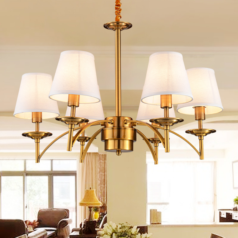 Noble Golden Chandeliers Lamps Indoor Lighting Palatial Hemp E27 6/8 Heads Sitting Room LED Coffee Parlour Light Fixture WPL211 noble people сумка для девочки 28610 27 бежевый noble people