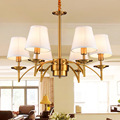 Noble Golden Chandeliers Lamps Indoor Lighting Palatial Hemp E27 6/8 Heads Sitting Room LED Coffee Parlour Light Fixture WPL211