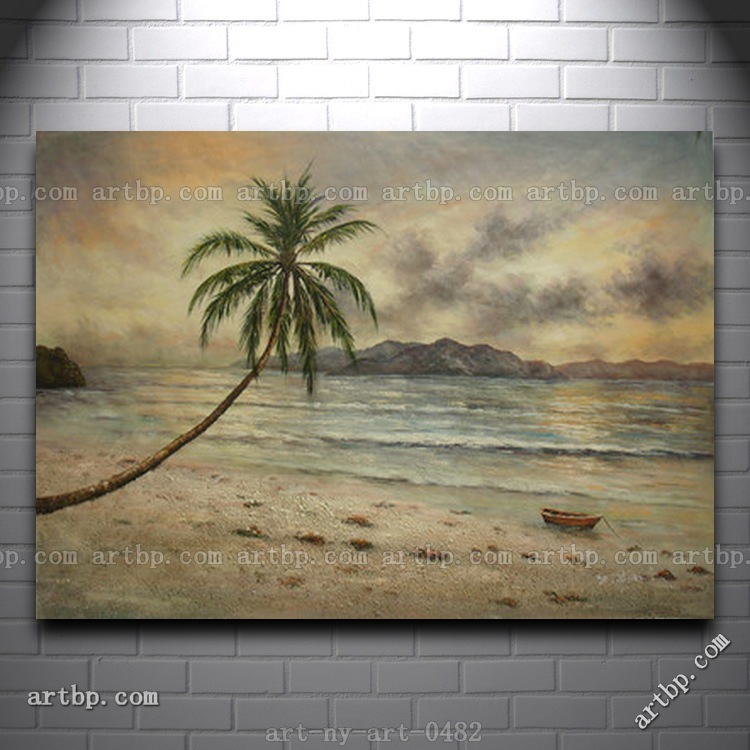 Oil Painting Of Beach Scene With Palm Tree Row Boat On