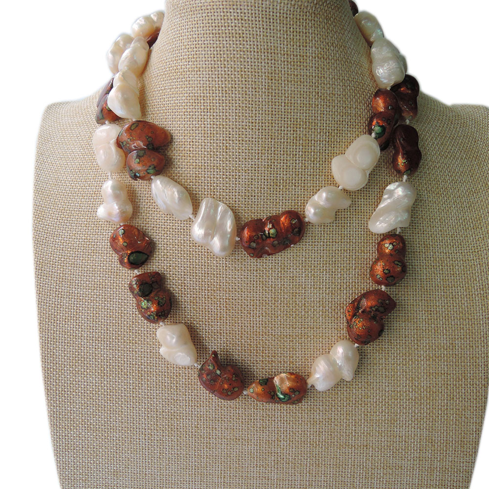 100/% NATURE FRESH-WATER PEARL LONG NECKLACE-120 CM in Baroque shape
