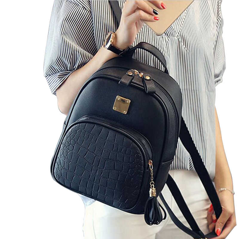 eTya New Fashion Women Backpacks Women's PU Leather Backpacks Girl School Bag High Quality Ladies Bags black blue pink gray