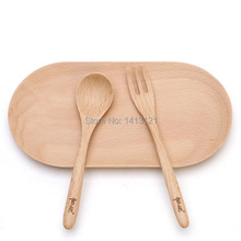 free shipping dinnerware set  Natural wood spoon children fork portable tableware household dry fruit dish creative snack plate
