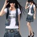 Новый 2014 джинсовый жилет женщин весна и лето рукавов с капюшоном жилет короткие верхняя одежда жилет SS76E