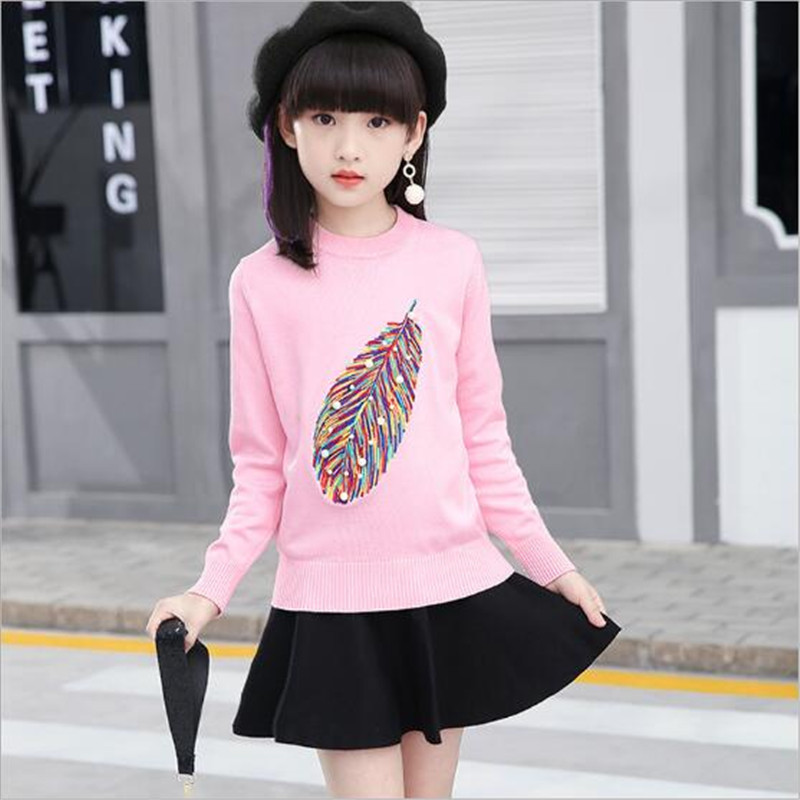 2017 New Leaves long-sleeved children's girls O-Neck long suit Fashion Kids Baby Girl skirts+Sweater 2 PCS Sets Red pink Sweater