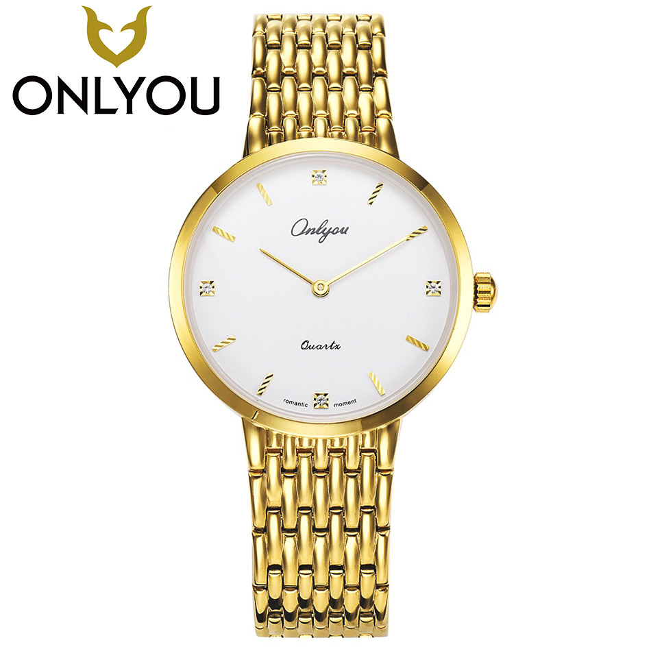 ONLYOU Mens Watches Top Brand Luxury Womens Gold Watch Lover Wristwatch Ladies Fashion Dress Diamond Quartz Clock Wholesale onlyou bracelet women watches stainless steel ladies diamond waterproof fashion ladies watch gfit lover quartz watch man clock