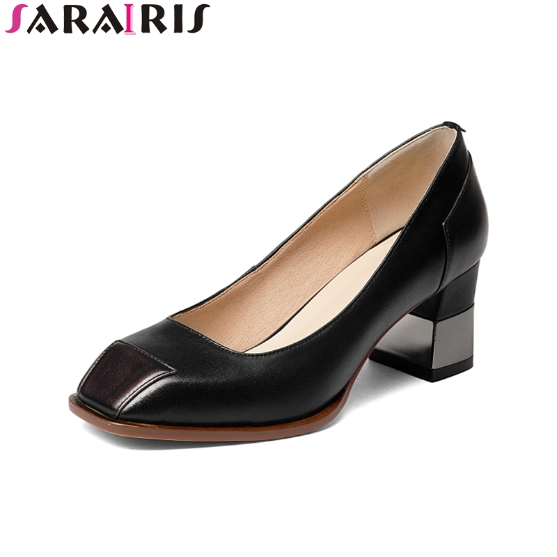 SARAIRIS 2018 Spring Autumn Genuine Leather Shallow Pumps Slip-On Women Shoes High Square Heel Women Shoes Large Size 33-42 spring autumn national style crude heel high heels genuine leather large size women shoes anti skid elderly shoes pumps obuv