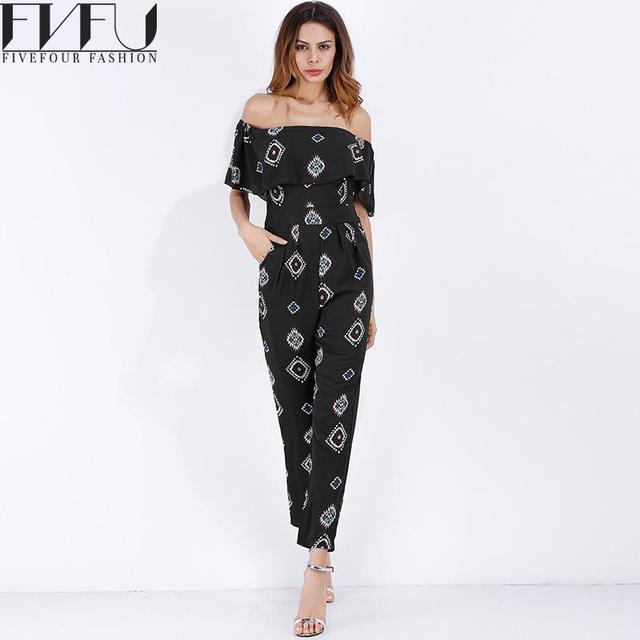 1762dd24dd Fashion 2018 Rompers Womens Jumpsuit Overalls Ruffle gasa del verano  Jumpsuit Off hombro pantalones largos suelta