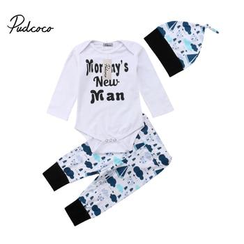 8bd5fcd08 3 piezas niño recién nacido Bebé Ropa manga larga Romper Playsuit +  Pantalones + sombreros ropa conjuntos 0-24 m