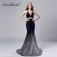 ca65847594adc Sparkle Pullu Uzun Mermaid balo kıyafetleri ile Boncuk Lacivert V Yaka  Ruffles Etek Seksi Backless Akşam
