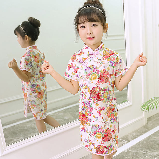 f4cb362ebdd2d Baby Girl Qipao Dresses Fashion 2019 Chinese New Year Children Clothes  Girl's Cheongsam Outfits Floral Chi Pao Dress
